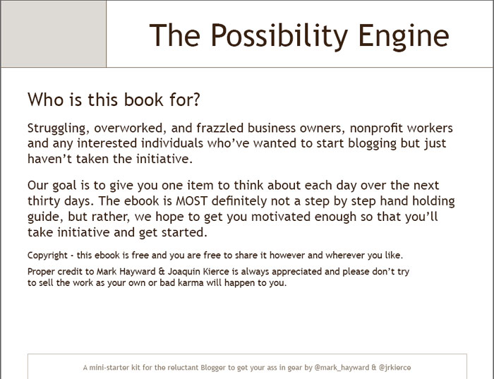 who-for Possibility Engine by Mark Hayward's E-Book for Blogging Inspiration